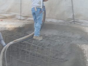 tanning bench, shotcrete