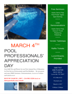 Free day of education for Pool Professionals'.